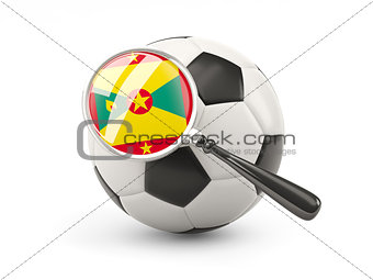 Football with magnified flag of grenada