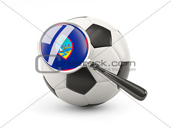 Football with magnified flag of guam