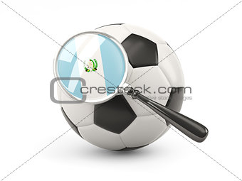 Football with magnified flag of guatemala