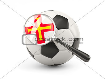 Football with magnified flag of guernsey