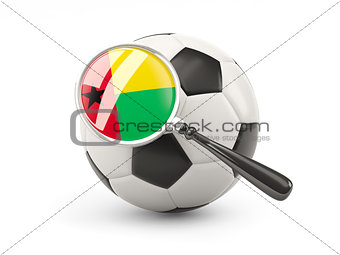 Football with magnified flag of guinea bissau