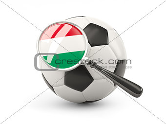 Football with magnified flag of hungary
