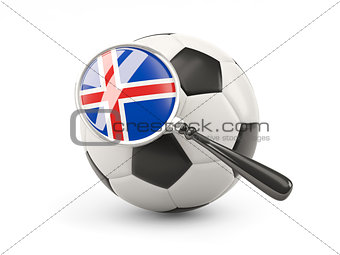 Football with magnified flag of iceland