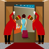 two bellhops looking at woman leaving