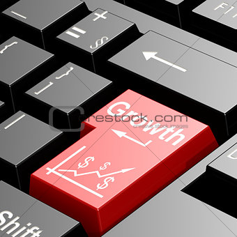 Growth word on red keyboard