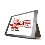 National debt word cloud on tablet