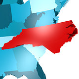 North Carolina map on blue USA map