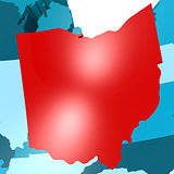 Ohio map on blue USA map