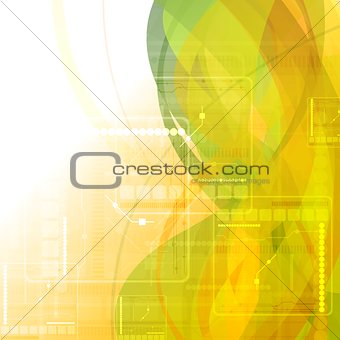 Abstract green orange tech wavy background