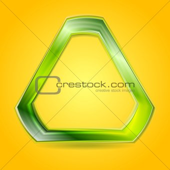 Bright green glowing triangle vector logo