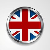 United Kingdom of Great Britain metal button flag
