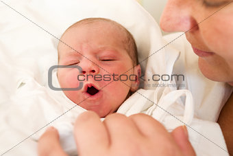crying newborn baby in the hospital
