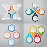 Infographics background with 4 option hexagon elements