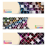 Cool banner set with abstract laser plasma background
