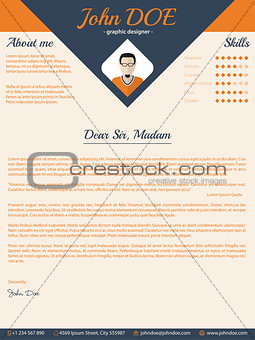 Blue arrow cover letter design