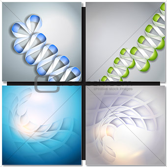 Abstract backgrounds with ribbons and squares
