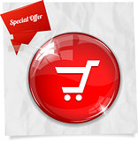 Vector red round promotional button