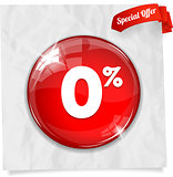 Vector red round Zero per cent button
