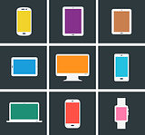 Flat modern colored electronic gadgets