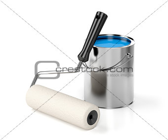 Paint roller and blue paint