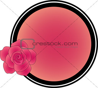 Frame with a rose under the text