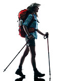 woman trekker trekking nature silhouette walking
