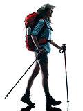 woman trekker trekking nature silhouette walking