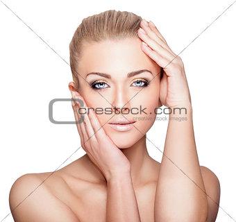 Beautiful Blond Woman Portrait on White Background