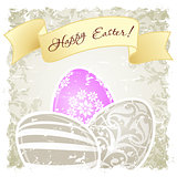 Grungy Easter Background with Decorated Eggs