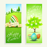 Set of Easter Cards with Decorated Eggs