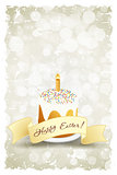 Grungy Easter Background with Decorated Cake