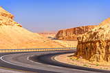 Road in desert on the way to Dead Sea
