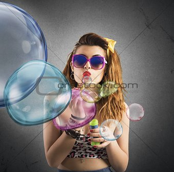 Blowing colored bubbles