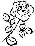 Rose black outline
