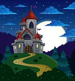 Night scene with fairy tale castle