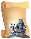 Parchment with haunted house thematics 1