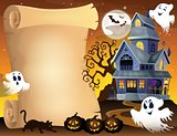 Parchment with haunted house thematics 3