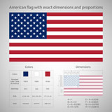 American flag with exact dimensions and proportions