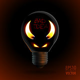 fire silhouette of devil in bulb
