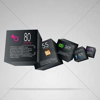 Abstract info graphic with black cubes