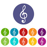 Treble clef web flat icon