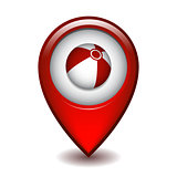 Red map pointer with beach ball.