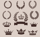 Set of laurel wreaths and crowns. Vintage emblem
