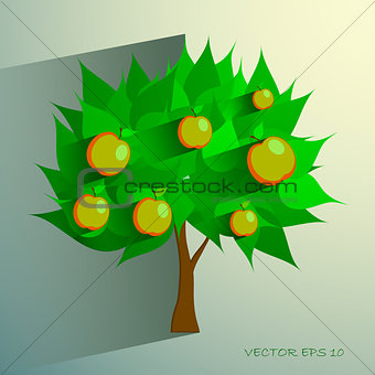 apple tree isolated on White background. Vector illustration
