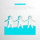 Paper People Holding Hands on white Background