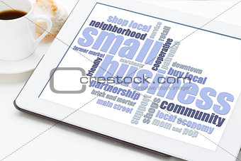 small business word cloud on tablet