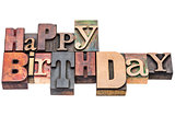 Happy Birthday greeting sign in wood type