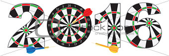 2016 New Year Number Outline Dartboard