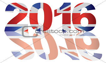 2016 Union jack Flag Numbers Outline Illustration