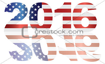 2016 USA Flag Numbers Outline Illustration